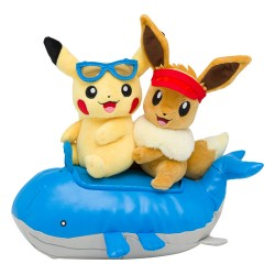 Peluche Summer Pikachu Evoli sur Wailord japan plush