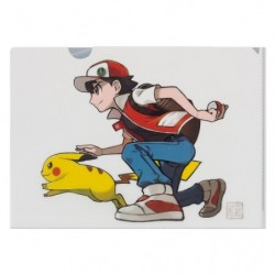 A4 Clear File Red & Pikachu japan plush