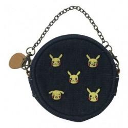 Denim Round Pouch Pikachu japan plush