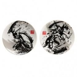 Petite assiette Set x2 Amphinobi & Mega Jungko Calligraphie Sumie Retsuden japan plush