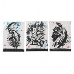 Pochette transparente Set x3 Calligraphie Sumie Retsuden japan plush