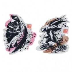 Sticker Set x2 Mega Gallame and Carchacrok Calligraphie Sumie Retsuden japan plush