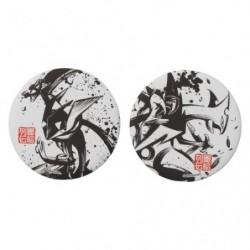 Badge Set x2 Amphinobi & Mega Jungko Calligraphie Sumie Retsuden japan plush