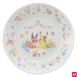 Plate Easter Garden Party Pikachu and Eevee japan plush