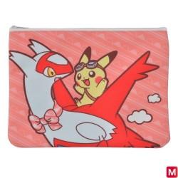 Pochette Plate Latias Latios sur Pikachu japan plush
