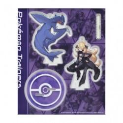 Acrylic keychain Pokémon Trainers Cynthia and Garchomp japan plush