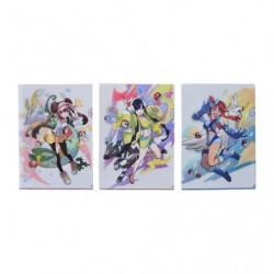 A4 Clear File Pokémon Set x3 Trainers Rosa Elesa Skyla japan plush