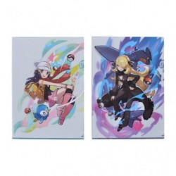 A4 Clear File Pokémon Trainers Dawn and Cynthia japan plush