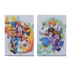 A4 Pochette transparente Pokémon Trainers Red et Blue japan plush