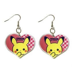 Acrylic earrings Heart Pikachu Girly japan plush