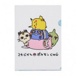 A4 Pochette transparente 24 Jikan Pokémon Chu japan plush