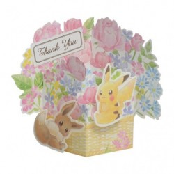 Greeting Card Thank Pikachu and Eevee japan plush