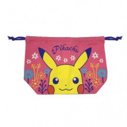 Drawstring bag Pikachu flowers japan plush