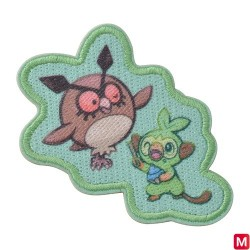 Patch Sticker Yawning Hoothoot and Grookey japan plush