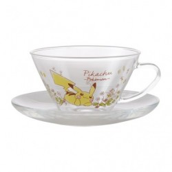 HARIO Heat-resistant teacup & saucer wide Flowers in full bloom A japan plush