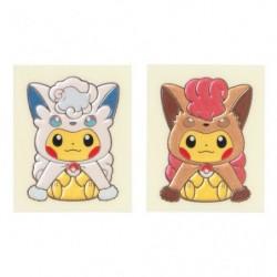 Gold Card Alolan Vulpix & Vulpix Poncho Pikachu japan plush
