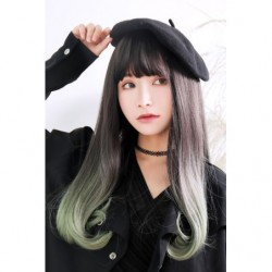 Cosplay Wig TefuRe Long Straight Natural Black Ash Green Hair Gradation japan plush