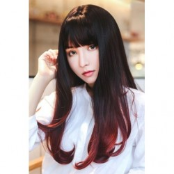 Cosplay Wig TefuRe Long Straight Natural Black Cherry Red Hair Gradation japan plush
