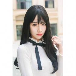 Cosplay Wig TefuRe Long Straight Natural Black Hair japan plush