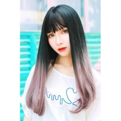 Cosplay Wig TefuRe Long Straight Black Pink Ash Hair Gradation japan plush
