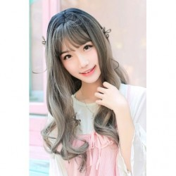 Cosplay Wig TefuRe Long Curl Black Grey Hair Gradation japan plush