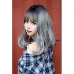 Cosplay Wig TefuRe Mid Hair Black Ash Silver Gradation japan plush