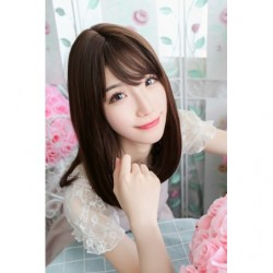 Cosplay Wig TefuRe Mid Hair Dark Brown japan plush