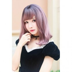 Cosplay Wig TefuRe Mid Hair Black Ash Pink Gradation japan plush