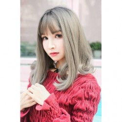 Cosplay Perruque TefuRe Cheveux Mi Long Noir Gris Gradation japan plush