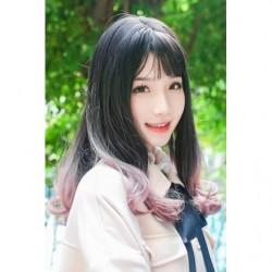 Cosplay Perruque TefuRe Cheveux Mi Long Légère Boucle Noir Rose Cendré Gradation japan plush