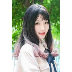 Cosplay Wig TefuRe Mid Hair Soft Curl Black Ash Pink Gradation japan plush