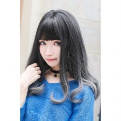 Cosplay Wig TefuRe Mid Hair Soft Curl Black Grey Gradation japan plush