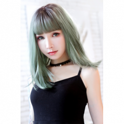 Cosplay Wig TefuRe MODE Mid Hair Natural Black Ash Green Gradation japan plush