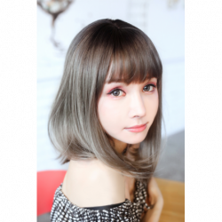 Cosplay Perruque TefuRe MODE Cheveux Mi Long Noir Naturel Gris Gradation japan plush