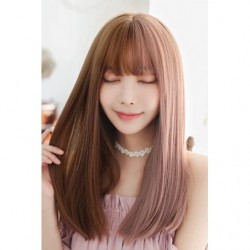 Cosplay Wig TefuRe Half and Half Long Hair Milk Tea Ash Pink  japan plush