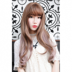 Cosplay Perruque TefuRe Girly Long Cheveux Ondulé Marron Rose Cendré Gradation japan plush