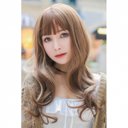 Cosplay Perruque TefuRe Girly Long Cheveux Ondulé Marron Blond Gradation japan plush