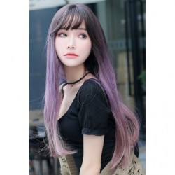 Cosplay Perruque TefuRe MODE Cheveux Long Raide Noir Rose Violet Gradation japan plush