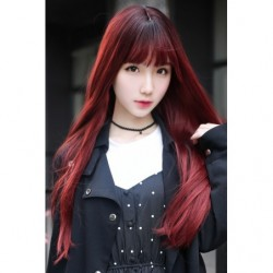 Cosplay Wig TefuRe MODE Long Straight Hair Black Cherry Red Gradation japan plush