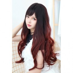 Cosplay Perruque TefuRe MODE Cheveux Long Ondulé Noir Rouge Cerise Gradation japan plush