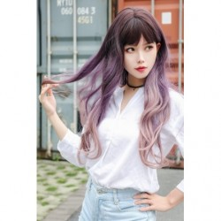 Cosplay Perruque TefuRe MODE Cheveux Long Ondulé Noir Rose Violet Gradation japan plush