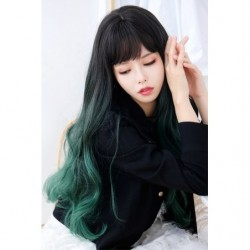 Cosplay Perruque TefuRe MODE Cheveux Long Ondulé Noir Vert Émeraude Gradation japan plush