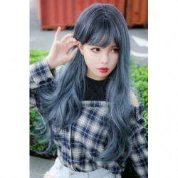 Cosplay Wig TefuRe MODE Long Wavy Hair Black Navy Blue japan plush