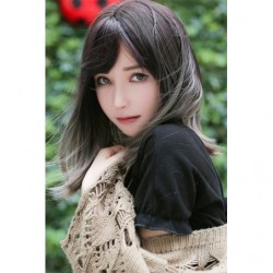 Cosplay Wig TefuRe MODE Mid Hair Natural Black Gray Gradation japan plush