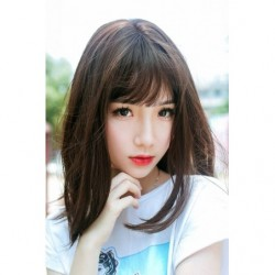 Cosplay Wig TefuRe MODE Mid Hair Dark Brown japan plush