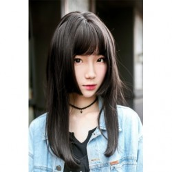 Cosplay Wig TefuRe Hime Straight Long Hair Natural Black japan plush