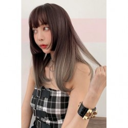 Cosplay Wig TefuRe Hime Straight Long Hair Black Gray Gradation japan plush