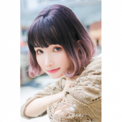 Cosplay Wig TefuRe Classic Bob Hair Natural Black Ash Pink Gradation japan plush