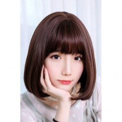 Cosplay Wig TefuRe Natural Bob Hair Dark Brown japan plush