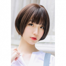 Cosplay Wig TefuRe Natural Short Hair Dark Brown japan plush